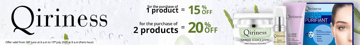 1 Qiriness product purchased = 15% off. 2 Qiriness products purchased = 20% off