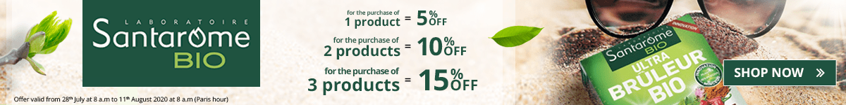 1 Santarome product purchased = 5% off. 2 Santarome products purchased = 10% off. 3 Santarome products purchased = 15% off