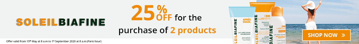 2 SoleilBiafine products purchased = 25% off