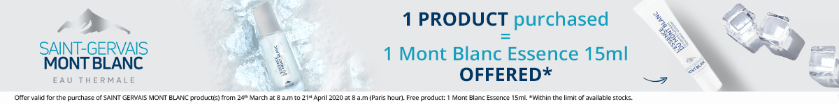 1 Saint-Gervais Mont Blanc product purchased = 1 FREE Mont Blanc Essence 15ml