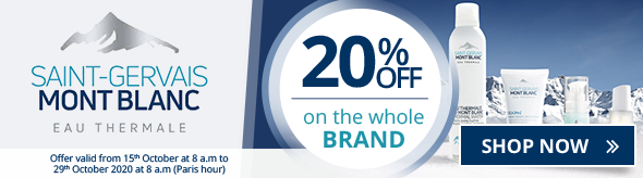 20% off on all the Saint-Gervais Mont Blanc products