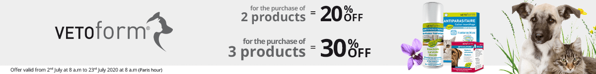 2 Vetoform products purchased = 20% off. 3 Vetoform products purchased = 30% off