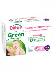 Love & Green Couches Hypoallergéniques 42 Couches Taille 4+ (9-20 kg)