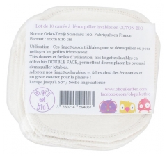 Oh qu'il est bio 10 Washable Squares to Remove Make-Up in Organic Cotton