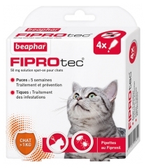 Beaphar Fiprotec 50mg Spot-on Solution Cats 4 Pipettes of 0,50ml