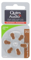 Quies Audio 6 Piles Zinc Air pour Aides Auditives (312)