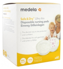 Medela Safe & Dry Breast-Pads of Single Use Ultra-Thin 60 Pads