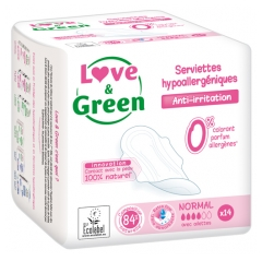 Love & Green Serviettes Hypoallergéniques Normal 14 Serviettes