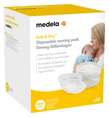 Medela Safe & Dry Coussinets d'Allaitement à Usage Unique 60 Coussinets