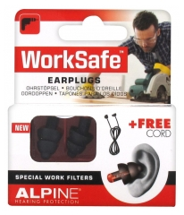 Alpine Hearing Protection Worksafe Bouchons d'Oreille + Cordon Gratuit