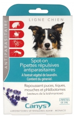 Canys Spot-On Repellent Pipettes Insect Pest Control Dog 3 Pipettes