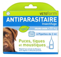 Vetoform Antiparasite Insect Repellent Big Dog 6 Pipettes
