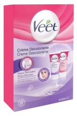 Veet Decolorant Cream Face and Body Normal Skins Box of 2 Tubes x 30ml