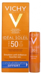 Vichy Capital Idéal Soleil Emulsión Anti-brillo Tacto Seco SPF 50 50 ml + Stick Labial Gratis