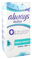 Always Dailies Normal Fresh & Protect Sin Perfume Sin Colorante 30 Protectores de Ropa Interior