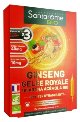 Santarome Bio Organic Ginseng Royal Jelly Guarana Acerola 20 Phials