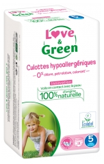 Love & Green Culottes Hypoallergéniques 18 Culottes Taille 5 (12-18 kg)