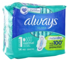 Always Ultra Normal with Fins Size 1 14 Sanitary Napkins