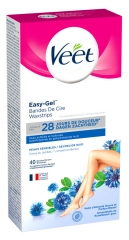 Veet Easy-Gel Wax Strips for Body and Legs Sensitive Skins 40 Strips