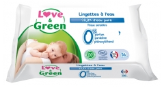 Love & Green Water Wipes 56 Wipes