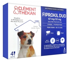Clément Thékan Fiprokil Duo 67mg/20mg Dogs 4 Pipettes