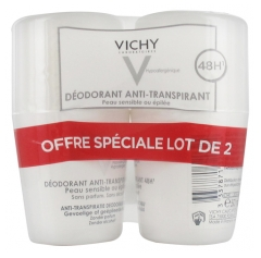 Vichy Déodorant Anti-Transpirant 48H Peaux Sensibles ou Epilées Roll-On Lot de 2 x 50 ml