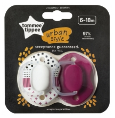 Tommee Tippee Urban Style 2 Soothers 0 - 6 Months