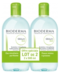 Bioderma Sébium H2O Solution Micellaire Nettoyante Purifiante Lot de 2 x 500 ml