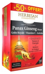 Herbesan Panax Ginseng Meyer Gelée Royale Vitamine C Acérola 20 Ampoules + 10 Offertes