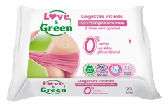 Love & Green Lingettes Intimes 20 Lingettes