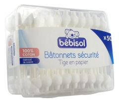 Bébisol 50 Cotton Buds Security Tips in Paper