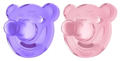 Avent 2 Sucettes Orthodontiques Silicone Soothie 0-3 Mois