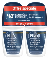 Etiaxil Déodorant Men Anti-Transpirant Contrôle 48H Roll-On Lot de 2 x 50 ml