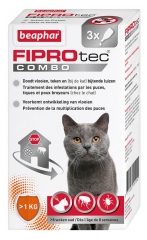 Beaphar Fiprotec Combo 50/60 mg Solution Spot-on Chats Furets 3 Pipettes de 0,50 ml