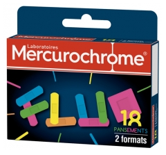 Mercurochrome Pansements Fluo 2 Formats 18 Pansements