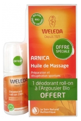Weleda Massage Oil with Arnica 200ml + Sea-Buckthorn Deodorant Roll-On 24H 50ml Free