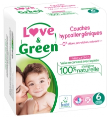 Love & Green Hypoallergenic Nappies 34 Nappies Size 6 (+15kg)