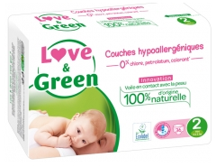 Love & Green Couches Hypoallergéniques 36 Couches Taille 2 (3-6 kg)