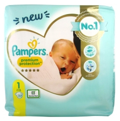 Pampers New Baby Premium Protection 22 Couches Taille 1 (2-5 kg)