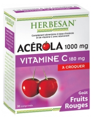 Herbesan Acerola 1000mg Vitamin C 180mg to Crunch 30 Tablets