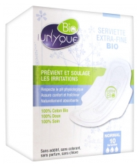 Unyque Bio 10 Serviettes Extra-Fines Normal
