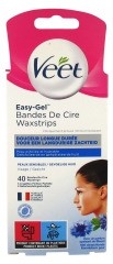 Veet Easy-Gel Wax Strips for Face Sensitive Skins 40 Strips