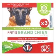 Vétobiol Pipettes Grand Chien +30 kg 3 Pipettes