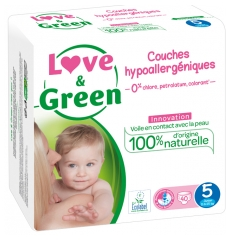 Love & Green Couches Hypoallergéniques 40 Couches Taille 5 (11-25 kg)