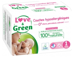 Love & Green Hypoallergenic Nappies 23 Nappies Size 1 (2-5kg)