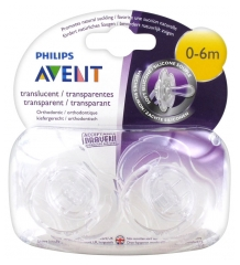Avent 2 Sucettes Orthodontiques Classic Silicone Transparentes 0-6 Mois
