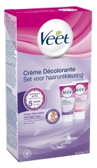 Veet Decolorant Cream Face and Body Normal Skins Box of 2 Tubes x 75ml