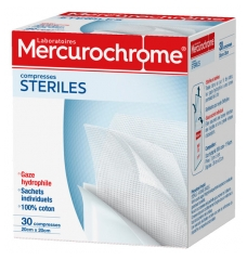 Mercurochrome 30 Compresses Stériles Coton