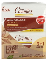 Rogé Cavaillès Extra-Mild Surgras Soap Milk and Honey 3 x 250g + 1 Free