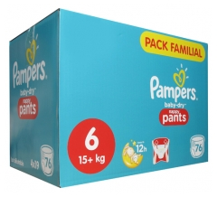 Pampers Baby-Dry Nappy Pants 76 Couches-Culottes Taille 6 (15 kg+)
